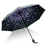 MJZJP 折りたたみ傘 8本骨 夏 遮光 遮熱 開閉便利 花柄 晴雨傘 軽量 耐久性 カバー付き 傘 (Color : 09, Size : One Size)