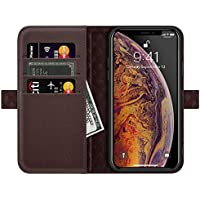 ZOVERR iPhone XS Max ケース 手帳型 両面マグネット式 磁気吸着 本革なカバー アイフォンXS Max 全面保護 スタンド機能 カード収納 耐汚れ 耐衝撃 ギフトボックス(6.5インチ用 ダークブラウン)Dark Brown