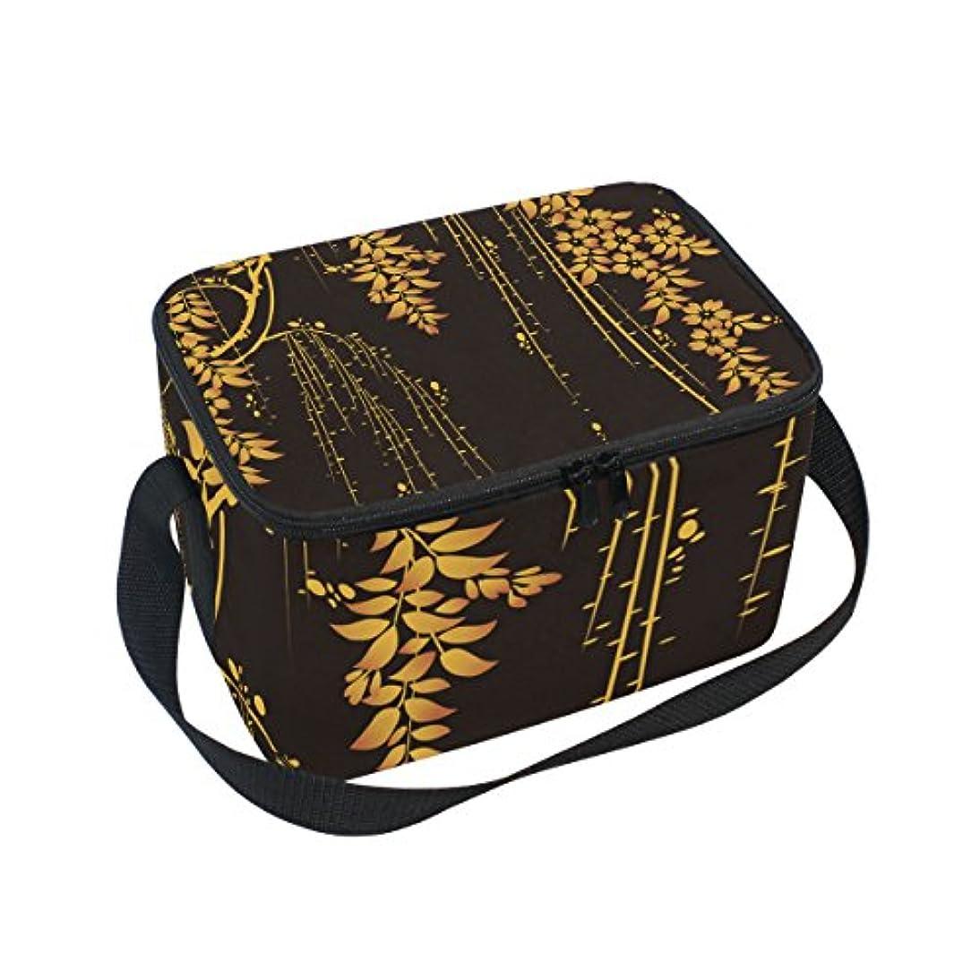 プレーヤー手錠カブクーラーバッグ クーラーボックス ソフトクーラ 冷蔵ボックス キャンプ用品 金色の木 黒背景 保冷保温 大容量 肩掛け お花見 アウトドア