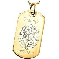 指紋Memorialジュエリー: 14Kソリッドイエローゴールド犬tag-ovalアウトライン