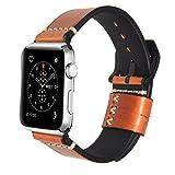 N.ORANIE Apple Watch 2/1 レザーバンド 高級本革 防汗 交換ベルト ステンレスバックル アップルウォッチバンド (オイルレッド 42mm)