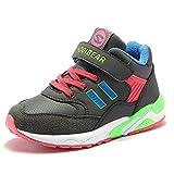 HOBIBEAR キッズ ハイカット スニーカー ダンス シューズ 軽量 マジックテープ 子供靴 運動靴 通学靴 AW3303(グレー,23cm)