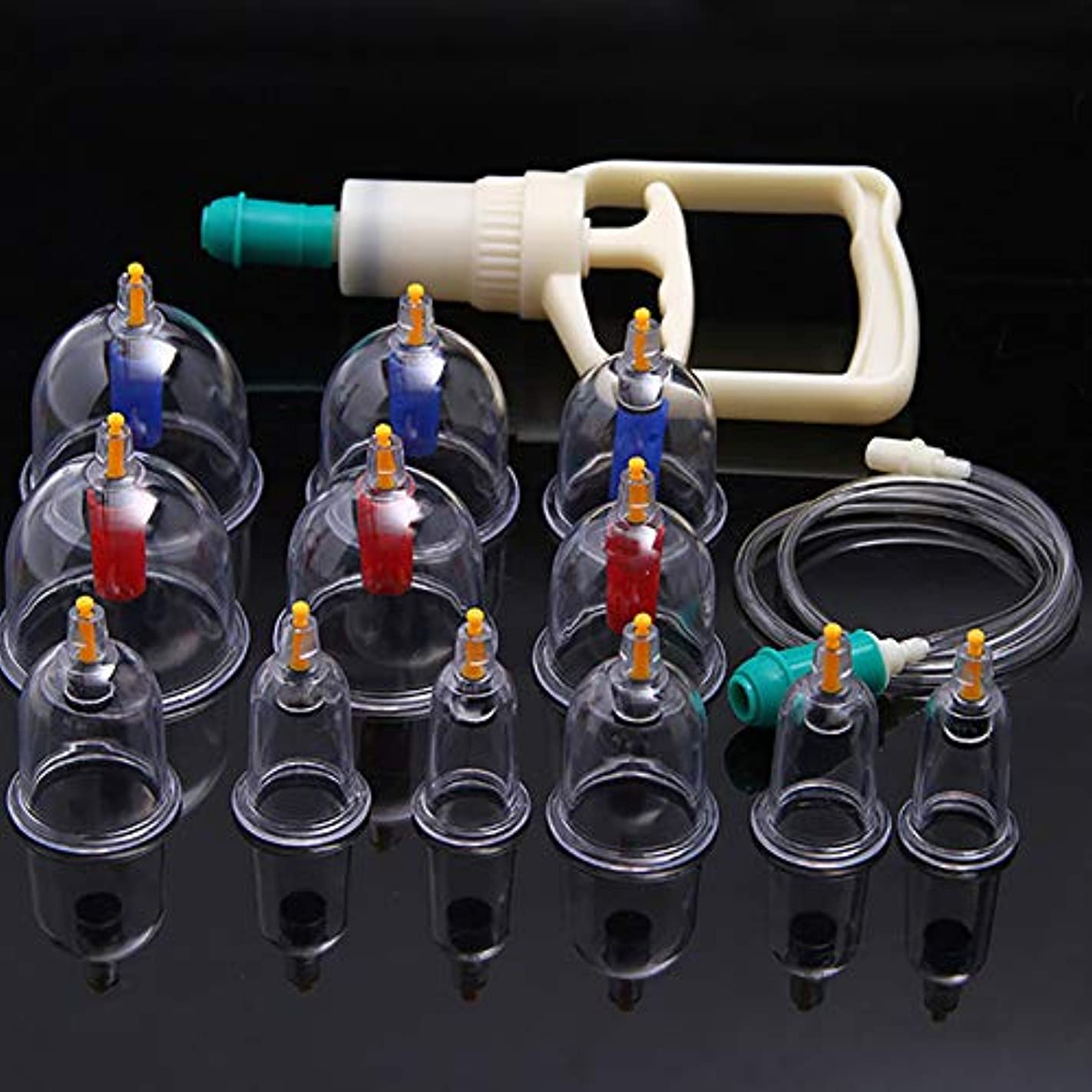 輸送分離可聴TINYPONY カッピング 吸い玉カップ 排気ポンプ 真空 脂肪吸引 康祝 6種 12個セット 自宅エステ アンチエイジングに