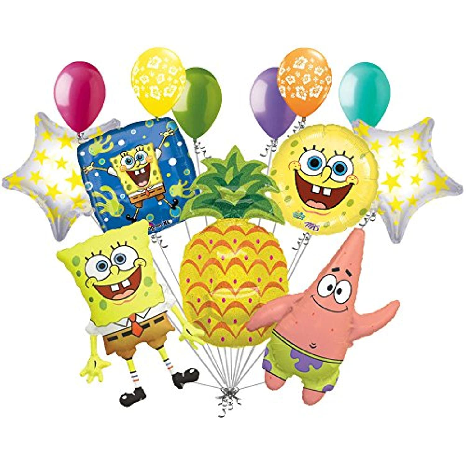 13個入りSpongebob Patrick Pineapple Balloon Bouquet Party Happy Birthdayスポンジボブ