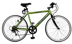 SHINEWOODⅣ(シャインウッド) 自転車 26インチ クロスバイク 軽量 シマノ6段変速 ライト鍵付き (グリーン)