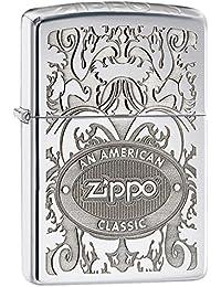 ZIPPO(ジッポー) 24751 ZIPPOロゴ オイルライター レギュラーサイズ サテンクローム シルバー FULL SIZE ZIPPO LIGHTER/ジッポライター [並行輸入品]