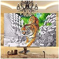 山笑の美 3Dキッズ壁紙タイガーダウン壊れた壁大壁画用キッズ子供部屋の壁壁画リビングルームテレビソファ背景壁-200×150CM