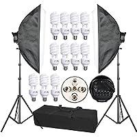 Abeststudio 2250Wプロフェッショナル写真照明 撮影用 50x70cmソフトボックス連続照明キット5ソケットライトヘッドソフトボックスソフトボックススタンドキット+ポータブルキャリーバッグ