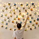LED Photo Clips String Lights, Battery Operated - Features Movable Photo Clips - Long Lasting Heavy Duty - Ideal for Hanging Pictures, Cards, Artwork, Decorations,20 LEDs