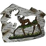 StealStreet Traveling Moose In Woodland Carved Scene Display Brown 3.25 [並行輸入品]