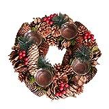 クリスマスリース キャンドルスティック 装飾 ウィンドウ デスクトップ 装飾 松ぼっくりパインニードル 農家スタイル ギフト レストラン バルコニー 308cm