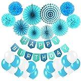21ピース ブルー 誕生日 紙扇子 飾り付け セット バースデー 飾りケーキトッパー フォトクリップ 紙のファン ペーパー フラワー 誕生日のバナー タッセルガーランド キラキラスターガーランド 風船を含む