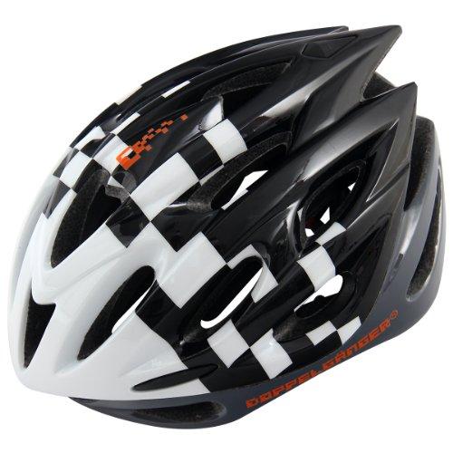 DOPPELGANGER(ドッペルギャンガー) ヘルメット DH006 インモールド 自転車用 ブラック/ホワイト M-XL 58~62cm 軽量252g [サイズアジャスター付き]