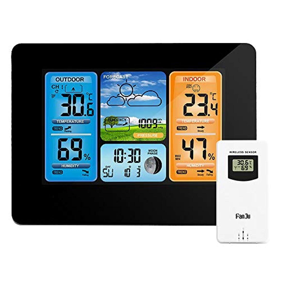 集団的ポール誘導天気ステーションデジタル温度計湿度計ワイヤレスセンサー予測温度時計ウォールデスク目覚まし時計