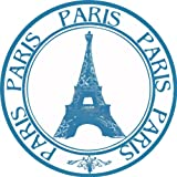 Paris France Stamp Bumper Sticker Eiffel Tower Round Car 127mmX127mm - パリフランスは、バンパーステッカーエッフェル塔ラウンド車のデカール127mmX127mmスタンプ