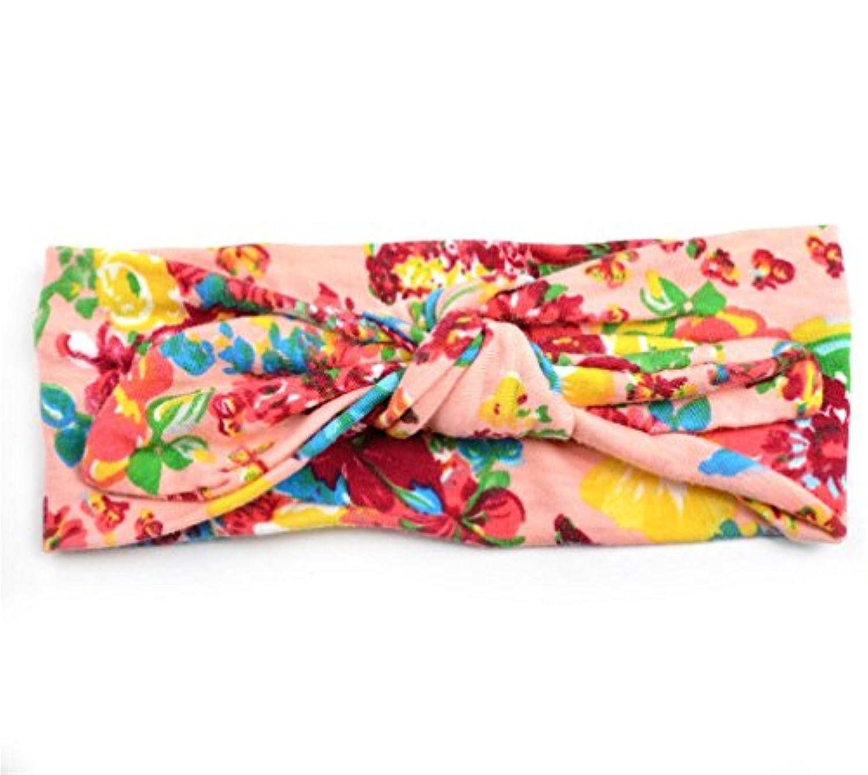 DRASAWEE(JP) ベビー キッズ 赤ちゃん ヘアバンド こどもカチューシャ ヘアリボン ヘアターバン ヘアアクセサリー 出産祝い プレゼント 写真小道具 髪飾り ギフトにも 超キュート ウサギ耳デザイン 伸縮性がある 花柄 プリント