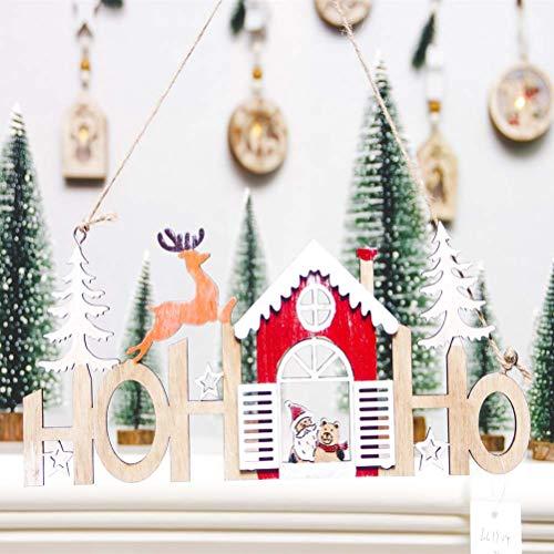 BESTOYARD Christmas Door Hanging Decorations Hohoho Wooden Door Wall Hanging Sign with Santa Claus Bear Reindeer Cutout for Indoor Outdoor Christmas Xmas Tree Decor