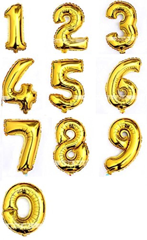 風船 バルーン 箔 アルファベット ヘリウム ゴールデン 数字 0-9 結婚式 誕生日 祝い パーティー 飾り ロマンチック 10個
