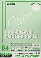ナカバヤシ コピー用紙 カラータイプ 100枚入 B4 グリーン HCP-4111-G