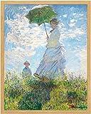 LBR モネ 日傘をさす女 (40cm×50cm) GardenArtPanel ジクレー プリント 複製 額 ファブリック インテリア アートパネル 日傘の女性 (ライトブラウン)