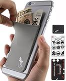 Gecko 携帯電話用ウォレット 黒/白 スマホに貼り付けられるカードケース - スキミング防止機能 - プライバシーを守る大容量ポケット - グレー