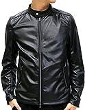 LOCK HEAVEN(ロックヘブン) ライダースジャケット ジャージ素材 シングルライダース 光沢加工 メンズ ブラック M