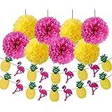 Luau Party Supplies Flamingo Party SuppliesハワイアンDecorations Luau装飾ティッシュペーパーポンポン付きフラミンゴパイナップルバナーイエローローズレッド紙花のTropical Luau Hawaiian夏パーティーSupplies
