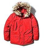 ( UN ANANAS )PD05 フード ファー あったか ジャケット アウター 防寒 メンズ 男性 冬 秋 かっこいい(レッドXL)