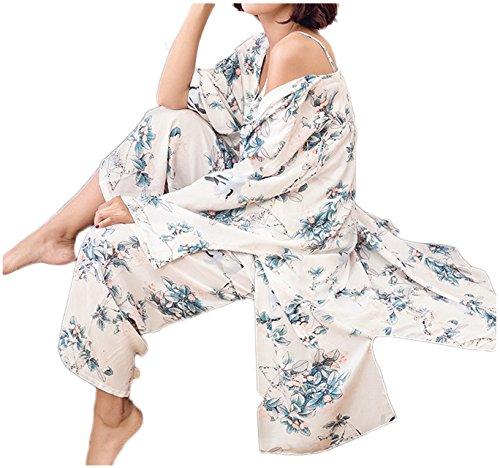 [ワン アンブ] 3点セット ルームウェア ゆったり 花柄 部屋着 パジャマ 体型カバー M ~ XL レディース ブルー XL
