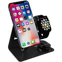 携帯電話スタンド, iPhone X/8/7/6/5を対応してApple Watch スタンド、デスクトップ携帯電話のスタンド  iPad 、全てのスマート携帯電話用の iWatch (42 mm 38 mm) アルミニウムドッキング ステーション、タブレットスタンド -最大 9.7 インチ(黒い)
