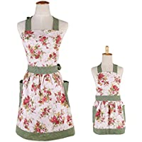 Surblue 100% Organic Cotton Reusable Women Hem Apron With Two Pockets, Extra-long Tie (FLORAL MOM&ME)