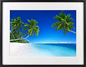 世界の絶景写真 クリスタルプリント 「ホワイトサンドビーチ」 木製フォトフレーム付 021