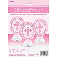 Mini Honeycomb Radiant Cross Pink Religious Decorations, Pack of 3
