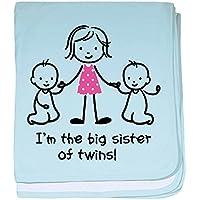 CafePress – Big SisterのTwins – スーパーソフトベビー毛布、新生児おくるみ ブルー 051080822225CD2