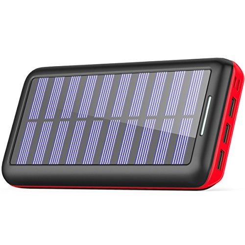 AkeemSolar モバイルバッテリー 22000mAh ソーラーチャージャー 超大容量 急速充電 【デュアル入力ポート / 3台同時充電】 太陽光で充電でき 災害時/旅行/アウトドアに大活躍 iPhone 、 iPad 、 スマホ 、 タブレット 、 ゲーム機 等対応 … (Black+Red)