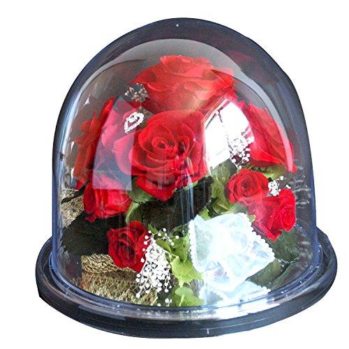 Azurosa(アズローザ) プリザーブドフラワー オルゴール プレゼント ギフト バラ アジサイ カスミ草 ローズリーフ ラウンドミラードームL レッド