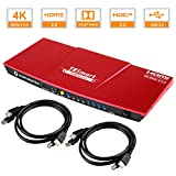 TESmart KVM Switch HDMI 4k 60hz HDMI Switcher 4 Port HDMI Switch Box with IR Remote Keyboard Mouse Switch with 2 HDMI Cables USB 2.0 Support HDMI 18Gbps for Laptop,PS4,Xbox,TV(Red)