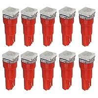 nice T5 LED レット 赤 red 高輝度 5050 1-SMD LEDバルブ 汎用 メーター ウェッジバルブ LED 電球 10個 T5-1SMD-R