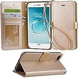 iphone 7 Plus ケース 手帳型 RoHS規格認定書を取得した iphone 7 Plus case スタンド機能付き マグネット内蔵 ストラップ付き アイホン7プラス カーバ 財布型 カードポケット付き (iphone 7 Plus シャンパンゴールド)