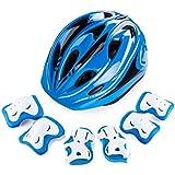 幼児?子供用 自転車ヘルメット 6歳~15歳未満,通気 安全 キッズヘルメット 可愛い アジャスター調節 約54cm~58cm 。無害素材 7点セット 膝?肘?腕保護 3組セット