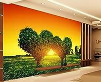 ラブツリーの風景の背景壁のカップルホテルの装飾の壁紙 3Dベッドルームリビングルーム壁画 カスタマイズサイズ シルク生地 Wapel 310X200Cm(122.05X78.74 In)