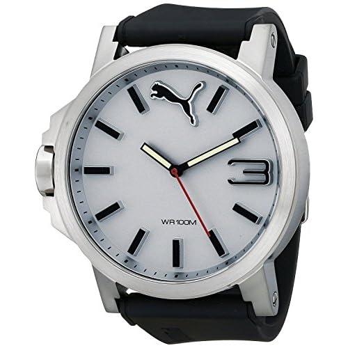 [プーマ] PUMA 腕時計 Men's Ultrasize 50 Silver White Analog Display Japanese Quartz Black Watch 日本製クォーツ PU102941007 メンズ [バンド調節工具&高級セーム革セット]【並行輸入品】