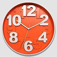 Lts ウッドクロッククリエイティブ3D 3次元デジタル12インチの寝室の壁時計ミュートファッション時計 (Color : A)