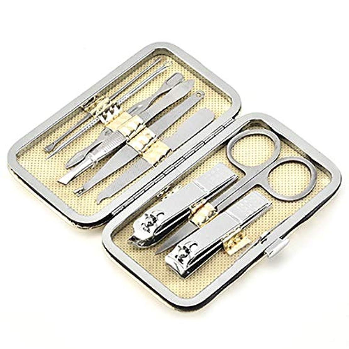 スナックスカルク撤退[FUPUSUN] 爪切り ネイルケア セット ステンレス 製 専用収納 ケース 入り 9点セット (ステンレス)