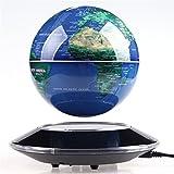 6 inch 磁気浮上 地球儀 浮遊・回転型の地球儀 磁気浮上 世界地図LEDライト 電磁誘導マグネットグローブ  飾り用品 教学用 (ブルー)