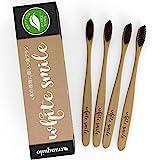 分解性 歯ブラシ - 家族パックの 4Toothbrushes - 子供の完ぺきためすべての自然竹ハンドル & 炭剛毛 BPA は無料の歯のホワイトニング [並行輸入品]