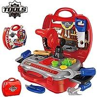 UiiQ おままごと 大工さん 工具セット 工具おもちゃ 男の子向け 組立て 玩具 ごっこ遊び ツール工具箱 収納トランクセット (レッド)