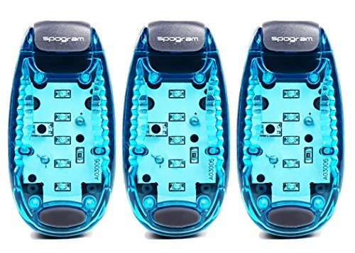 Spogram LED ランニング ライト 5個LED搭載 クリップ 型 夜ラン 自転車 散歩 高速 点滅 反射 電池付 (青3個セット)
