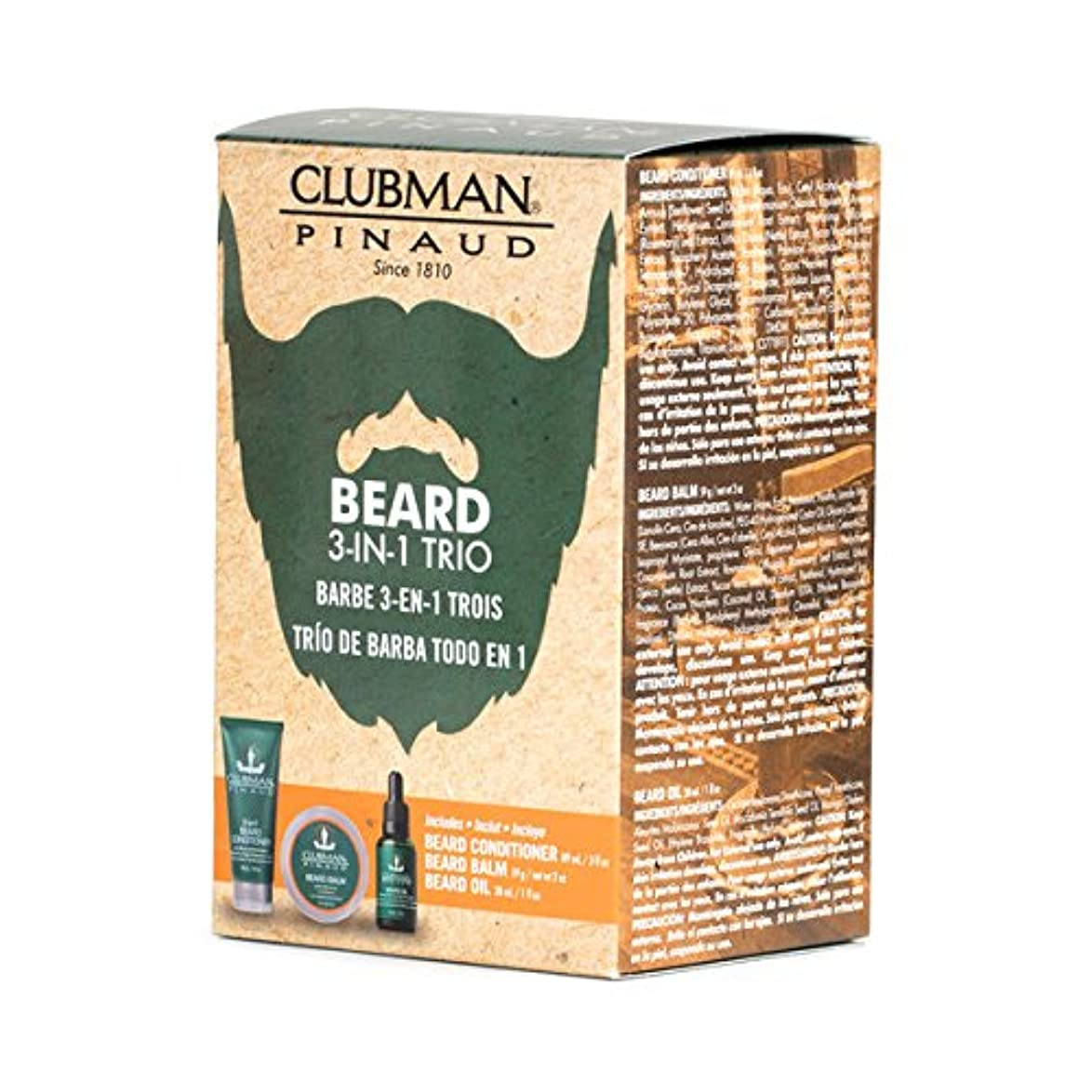 セラー複数恐怖(3 Pack) CLUBMAN Beard 3 in 1 Trio - Beard Balm, Oil and 2 in 1 Conditioner (並行輸入品)