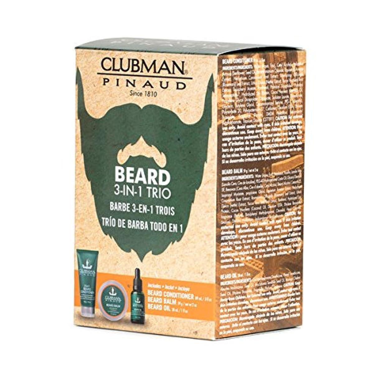 封筒専門知識起きている(3 Pack) CLUBMAN Beard 3 in 1 Trio - Beard Balm, Oil and 2 in 1 Conditioner (並行輸入品)
